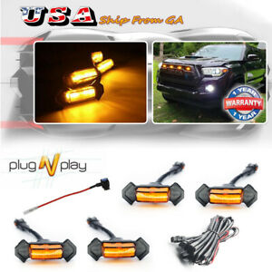4x Raptor Style Amber Lens Grille Led Lights For Toyota Tacoma Trd Pro 2016 2018