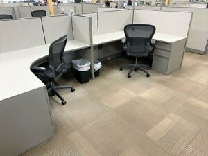 122 Steelcase Kick 6x5 Cubicles Some W glass Top Manager Cubes Install Avail