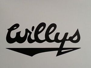 Decal For Willys Script Vintage Willys Jeep