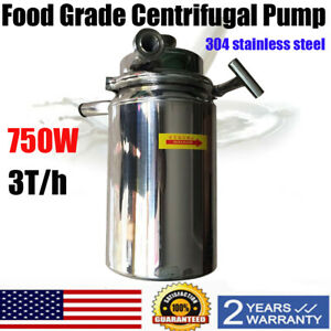 New 304 Food Grade Centrifugal Pump Sanitary Beverage Pump 3t h 110v Usa