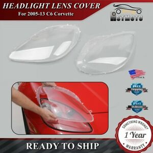 2005 2013 C6 Corvette Headlight Lens Cover Lenses Anti Uv Clear Replacement