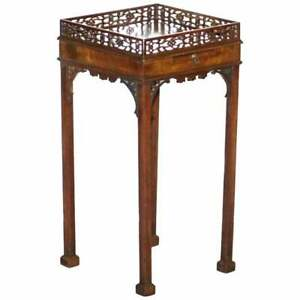 MAHOGANY FRET WORK CARVED JARDINIERE STAND TABLE WITH BUTLERS SERVING TRAY
