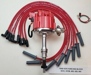 Ford 351c 351m 400 429 460 Red Hei Distributor 8 5mm Spark Plug Wires Usa