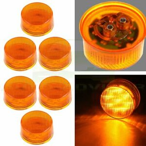 6pcs 2 Inch Side Marker Tail Turn Light Round For Truck Trailer Universal 9 Led