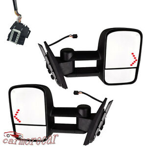 Led Signal Towing Power Mirrors Pair 1500 2500 2500hd For 07 13 Silverado Chevy
