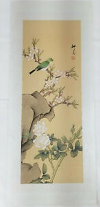 Antique Vintage Chinese Scroll Painting On Silk Bird Branch Signed Republic