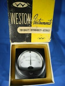 Daystrom Weston 301 57 Dc Micro amperes Panel Voltmeter 100 0 100 Nos In Box