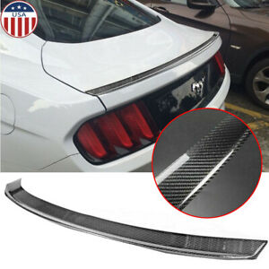 Sport Carbon Fiber Rear Trunk Tail Spoiler Wing Lip Trim Decor Sticker Universal