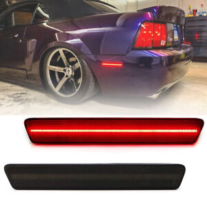 2pcs Rear Red Led Bumper Side Marker Light For 1999 2004 Ford Mustang Smoke Lens