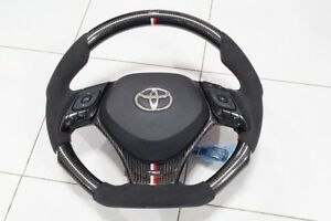 Toyota C hr 2015 18 Carbon Steering Wheel With Alcantara Lether Trd Style