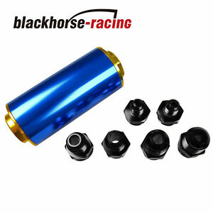 Ss An6 An8 An10 Inline Fuel Filter High Flow 100 Micron Cleanable Blue Gold