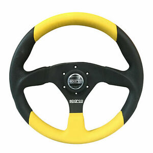 Sparco Color 2 Steering Wheel Black Yellow Leather 330 Mm Tuv