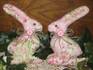 2 Large Rabbits Country Decor Wreath Accents Shabby Easter Pink Rose Fabric