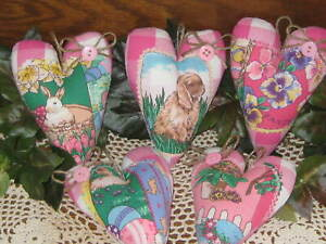5 Rabbit Pansy Fabric Hearts Bowl Fillers Wreath Accents Country Easter Decor