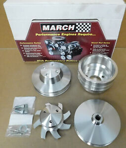 March Perf 7630 Bb Chevy Lwp Alum Pulley Set W water Pump Cover alt Pulley fan
