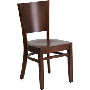 Lacey Series Solid Back Walnut Wooden Restaurant Chair Flaxudgw0094bwalwalgg
