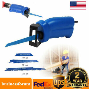 Universal Portable Electric Drill Reciprocating Saw Adapter Set W 3 Saw Blade Us