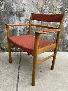 Mid Century Danish Modern Side Chair Wide Lounge Solid Teak Upholstered