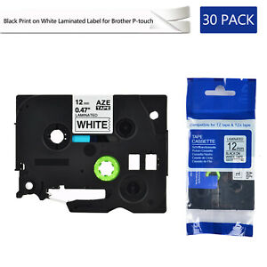 30pk Compatible With Brother Tz231 Tze231 Black Print On White Tape 0 47 x26 2ft