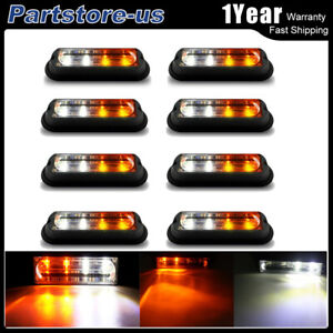 8pcs 4 Led 16w Car Truck Flash Strobe Light Kit Amber white Super Bright