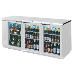 Beverage air 72in Glass Door Back bar Refrigerator Stainless Exterior
