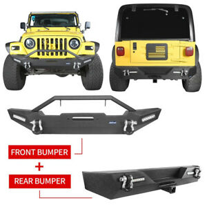 Off Road Textured Front Or Rear Bumper W Led Light For Jeep Tj Wrangler 97 06