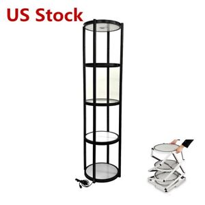 Us Stock 81 Round Aluminum Spiral Tower Display Case With Shelves Top Light