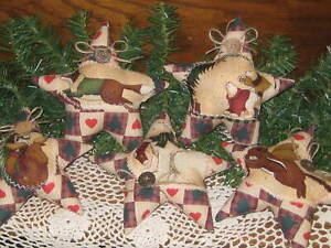 5 Rustic Christmas Stars Tree Ornaments Country Home Decor Wreath Accents