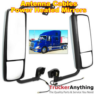 Mirror Chrome Left Right Side Volvo Vnl 04 15 Power Heated With Antenna Cable