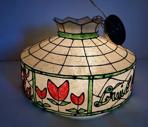 Vintage COCA-COLA Coke Tiffany Style Shade Plastic Hanging Lamp Light