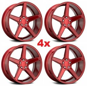 18 Candy Red Wheels Rims 5x114 3 18x8 Kmc