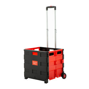 Folding Two wheeled Trolley Shopping Cart Collapsible Hand Rolling Crate Plastic