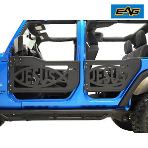 Eag Tubular Jesus Fish Door With Side Mirror Fit For 07 18 Jeep Jk Wrangler 4dr