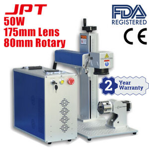 50w Jpt Fiber Laser Marking Machine Laser Marker 175 175mm With 80mm Rotary Axis