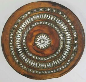 Vintage Carved Wood Bowl With Mother Of Pearl And Brass Inlay Pakistan Folk Art