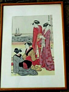 Beautiful Antique Original Japanese Wood Block Print Lades