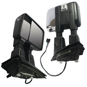 Pair Heated Signal Spotlight Towing Mirror Power Chrome For 2015 2017 Ford F150