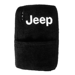 Black Quality Terry Velour Console Cover Fits 1997 2000 Wrangler Jeep Logotype