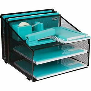 Office Desk Organizer Metal Mesh With 3 Paper Trays And 2 Vertical Upright