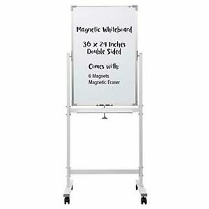 Mobile Dry Erase Magnetic Whiteboard 36x24 Inches Double Sided White Board
