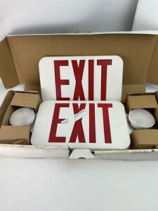 New Fulham Firehorse Exit Light Lighting Exit Sign Combo Fhec30wr Damaged Box