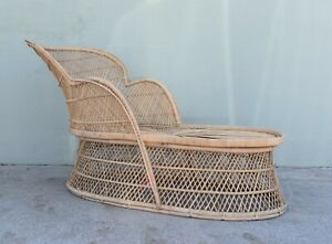Vintage Bohemian Wicker Rattan Peacock Chaise Lounge Chair