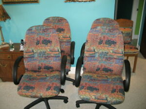 Office Chairs lot Of 4 Tapestry Fabric Knee Tilt Pneumatic Lift Made In Usa