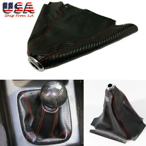 Black Carbon Fiber Style Leather Red Stitch Shifter Knob Boot Cover Manual Auto