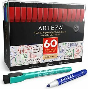 Arteza Dry Erase Markers Fine Tip Assorted Colors Set Of 60
