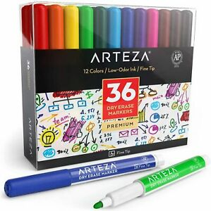 Arteza Dry Erase Markers Fine Tip 12 Colors Set Of 36