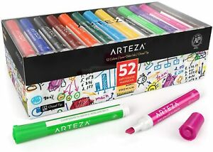 Arteza Dry Erase Markers Chisel Tip 12 Assorted Colors Set Of 52