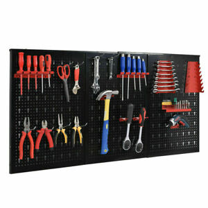 Black Metal Pegboard Garage Storage Organizer Wall Mount Panel Hanger Tool