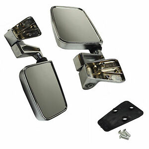Set Left Right Manual Side View Door Mirrors Chrome Pair For 87 02 Jeep Wrangler