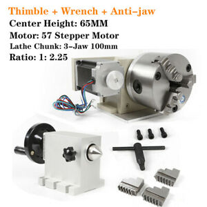 4th Axis Cnc Router Rotational A Axis 100mm 3 Jaw Chuck Engraving
